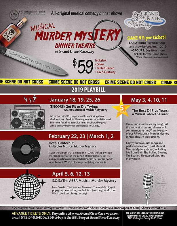 2019 Musical Murder Mystery Dinner Theatre Playbill poster