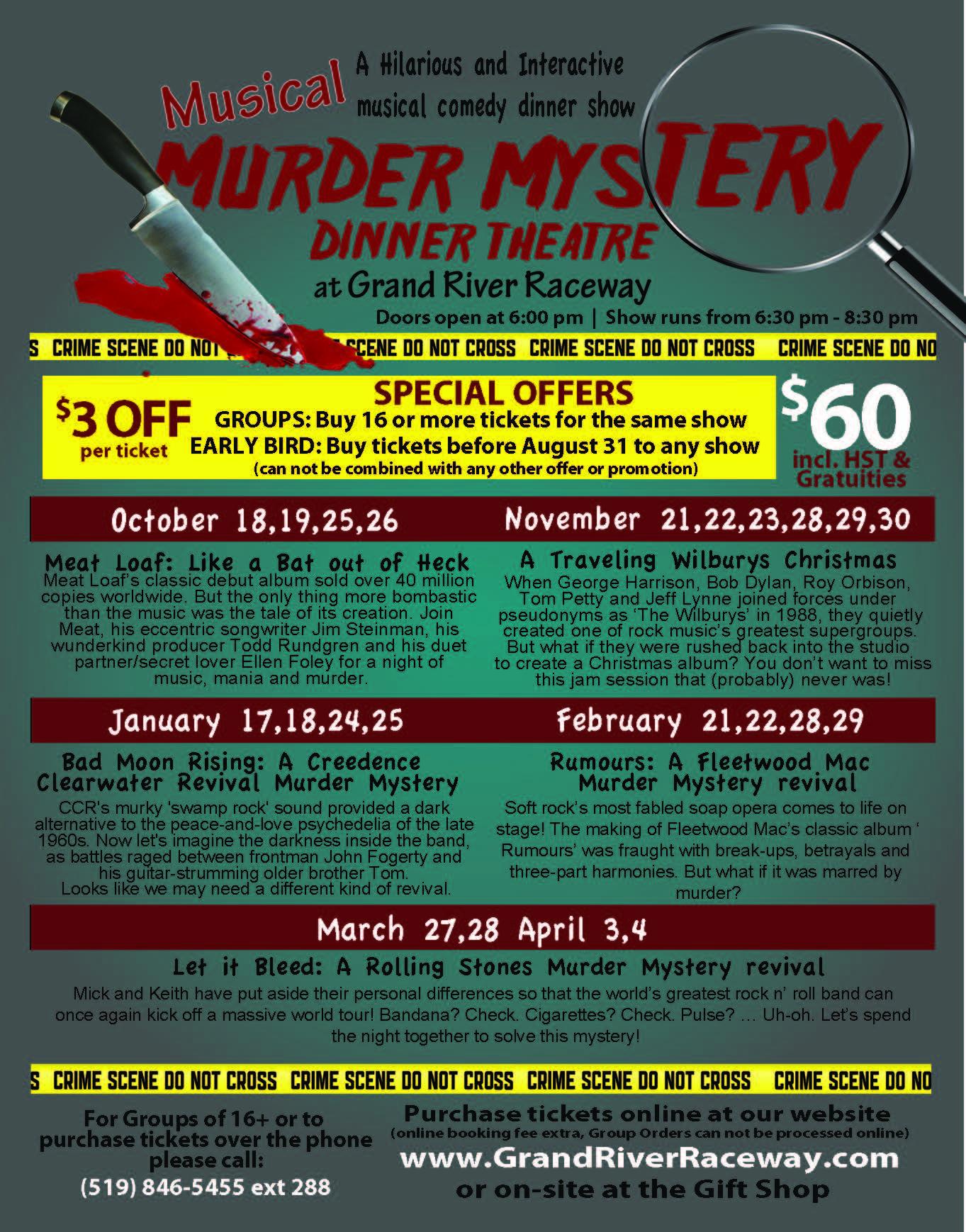 Murder Mystery Dinner Theatre – Grand River Raceway